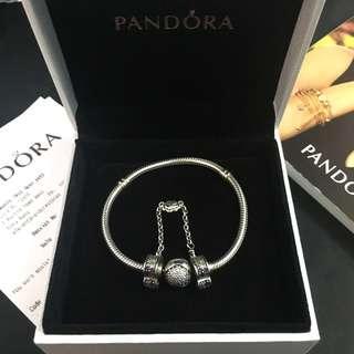 原裝正貨Pandora Bracelet 14k 手鏈 白金 安全鏈17CM 古董