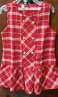🚚 Porsence經典紅格毛料背心洋裝(4歲適穿)