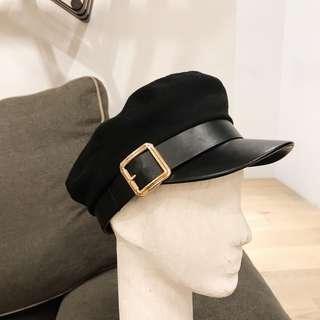 🚚 全新 皮革金屬環軍帽