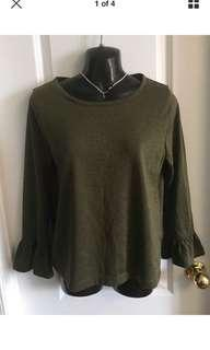 J. Crew Olive Ruffle Sleeves Metallic Top Size M