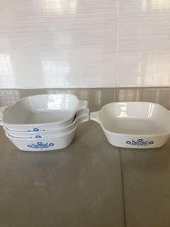 4 pcs blue corn flower Corning ware at rm 100 each