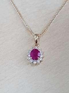 🚚 Flawless, Randiant Burma Ruby Diamond Pendant with Chain