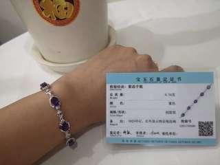 紫水晶手链 + 项链 ( Amethyst bracelet + necklace 925 sliver )