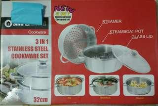 3 in 1 Stainless Steel Cookware Set