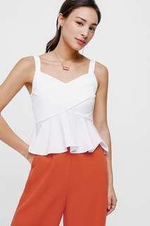 Love bonito Faydell Cross Front Peplum Top in White - Size XS
