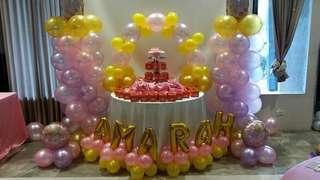 Baptismal Cake, Giveaway Cupcakes, Balloon Arrangement