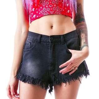 Unif black denim shorts