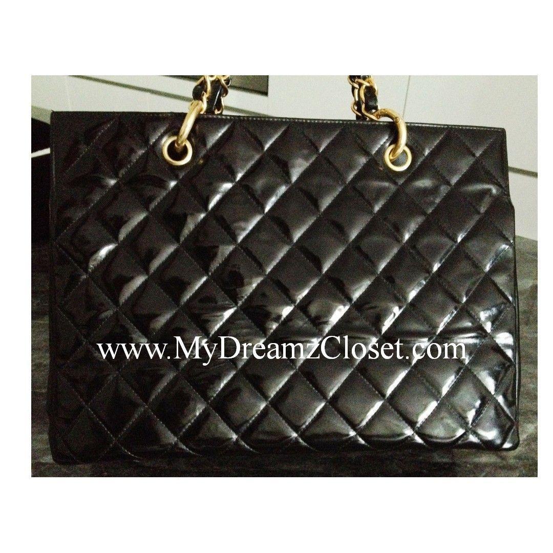 100% CHANEL Black Patent Leather 24K Gold Chain Grand Shopper Tote GST Bag
