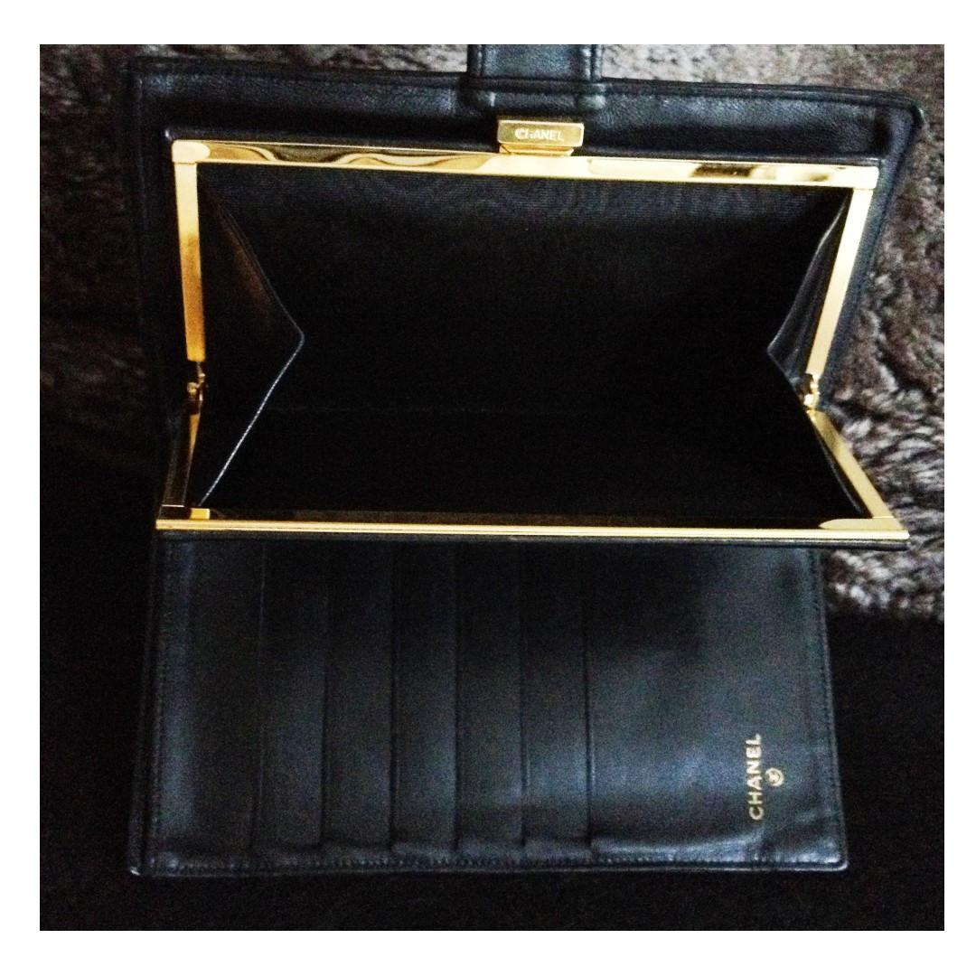100% Classic CHANEL Black Lambskin Long Wallet