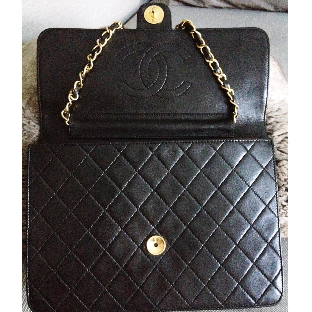"""100% Classic CHANEL Black Quilted Lambskin 24K Gold Chain 10"""" Flap Clutch Bag"""