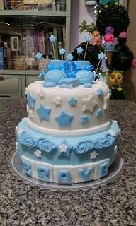 2-Layer Baptismal Cake (all edible)
