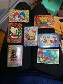 Sanrio 大口仔,hello kitty ,cherry chums ,mr bear,tuxedosam ,狸貓,pochacco,little twin star 閃卡