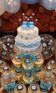 Baptismal Cake (all edible) and Giveaway Cupcake Tower