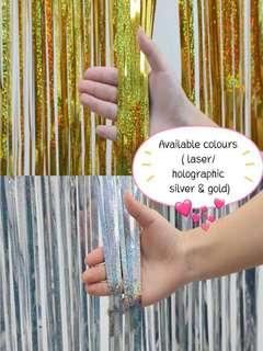 (30/12) Laser / Holographic foil tinsel curtain ( available in gold and silver)