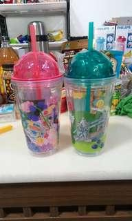 16 cm Plastic Cups with Straw (Set of 2 cups)