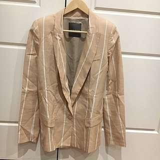 Camilla And Marc Striped Silk Linen Blazer - Nude - Size 6