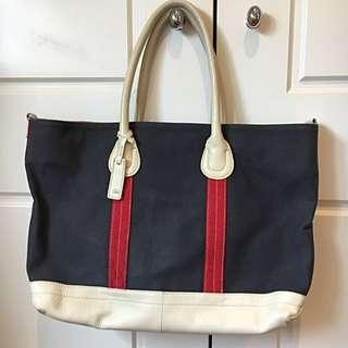 Oroton Red Blue Cream Over Shoulder Tote