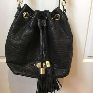 Saba Leather Black Bucket Bag