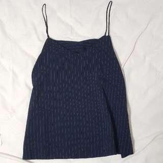 $5 Navy Striped Spag Top INSTOCK