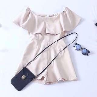 $15 Cream Off Shoulder Basic Romper with Pockets INSTOCK CNY