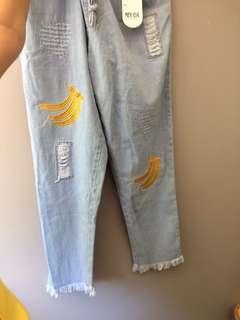Celana jeans light blue karet