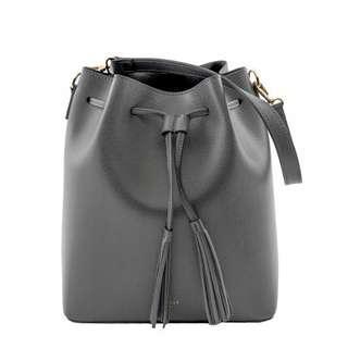 Grey Tassel Leather Bucket Bag