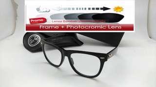 Frame kacamata + lensa photocromic wayfarer 2140