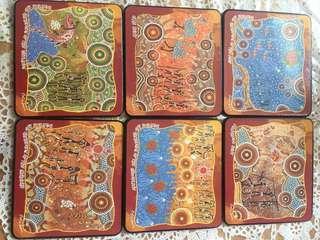 澳洲原住民木杯墊套裝