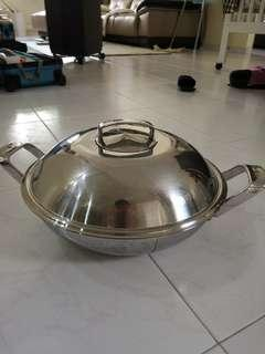 [CNY sales] WMF stainless steel wok 34cm (with steamer)