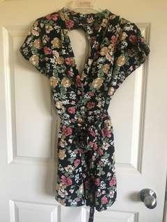 Floral backless playsuit