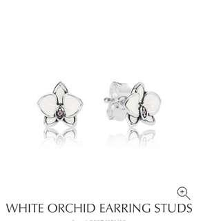 PANDORA White Orchid Earrings Studs