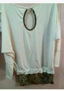 Baju sabrina bawah motif leopard