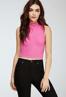 F21 Textured Mock Neck Crop Top