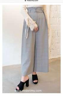 Checkered high waist pants in grey