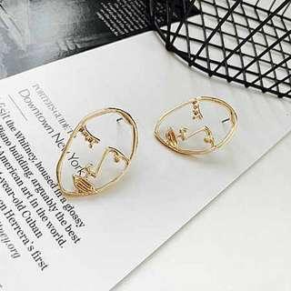 🚚 人臉 輪廓 線條 個性耳環