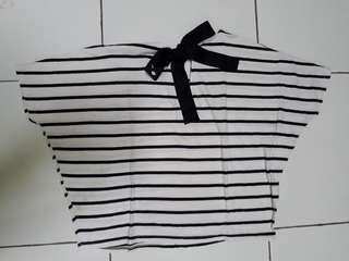 Cotton ink stripe back ribbon white