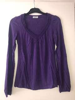 Jigsaw   Women's Long sleeved purple top   Size 0 (4-6)