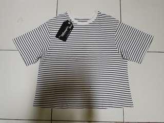 Uniqlo oversize top stripe black white