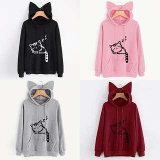 Preorder Cat ears hoodie sweater (S - 2XL)