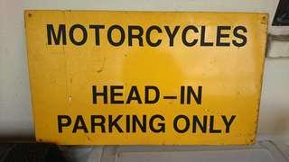 Old Metal Sign for Motorcycle Parking