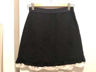 MAJE / Sandro black skirt with white blouse details