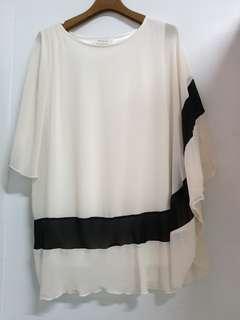 🚚 浪漫韓風米白色雪紡紗造型長版上衣 賣場三件免運