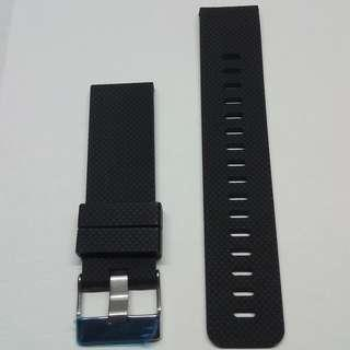 ⌚FREE POSTAGE - 24mm SOFT SILICONE BLACK/GREEN RUBBER WATCH STRAP With Big Tongue Buckle⌚