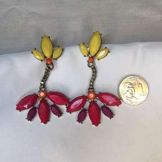 Neon Pink Yellow Dangling Earrings