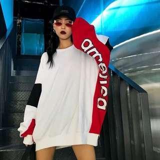 🚚 全新歐美時尚個性街頭潮流嘻哈英文字母logo寬鬆oversize長T長版T恤連衣裙
