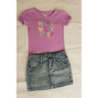 Blouse and denim skirt bundle