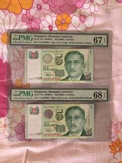 Liquidation Sale - Singapore Portrait Series $5 Paper Banknote 1AA 1st Prefix Lee Hsien Loong Signature 2 Runs PMG 67 68 EPQ