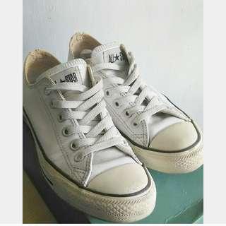 🌸Converse 白色皮質鞋