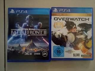 Ps4 Games - overwatch and star wars battlefront 2