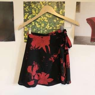 Red and black floral wrap skirt